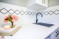 Matt Black+arabesque tile+Laundry Remodel